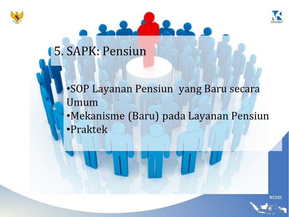 NCSIS 5. SAPK: Pensiun SOP Layanan Pensiun yang Baru secara Umum Mekanisme (Baru) pada Layanan Pensiun Praktek