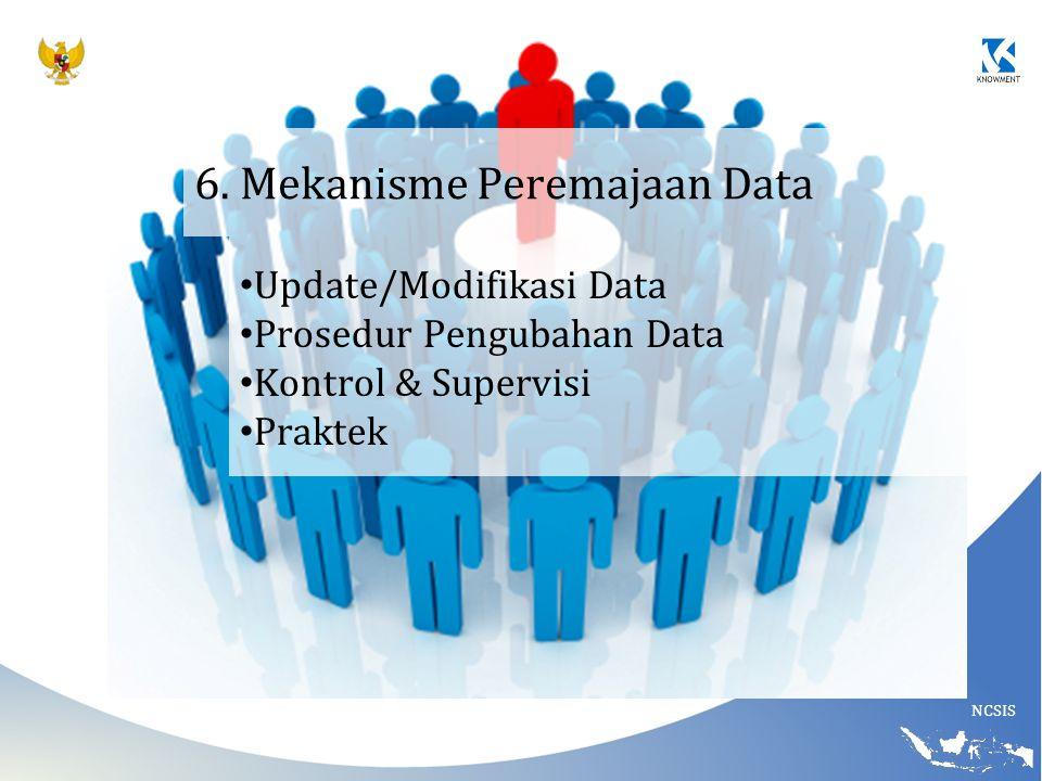 NCSIS 6. Mekanisme Peremajaan Data Update/Modifikasi Data Prosedur Pengubahan Data Kontrol & Supervisi Praktek