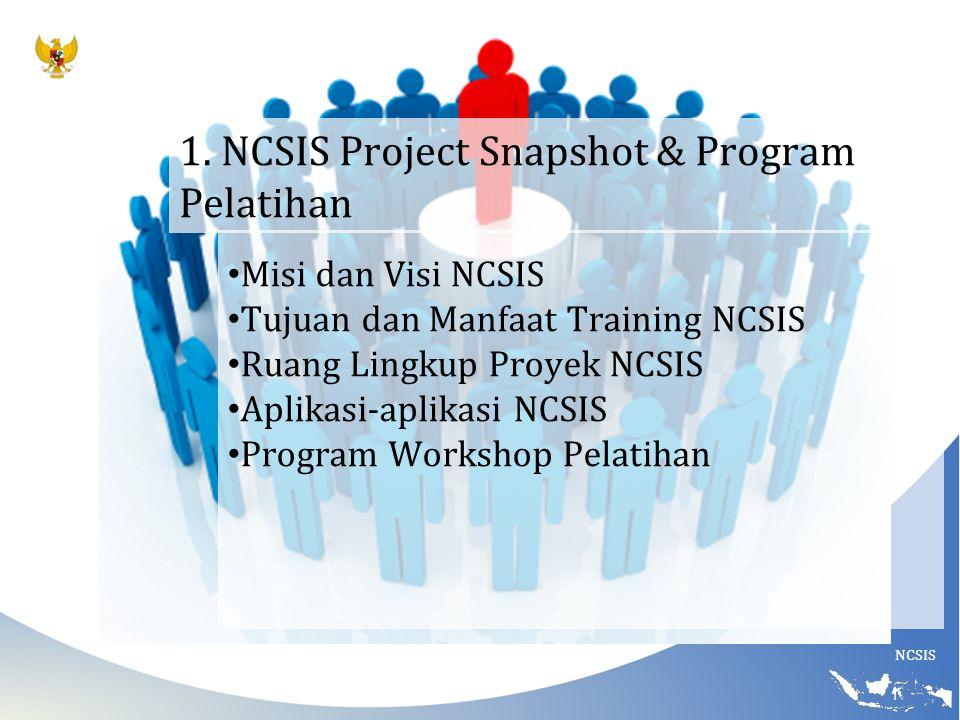 NCSIS 1. NCSIS Project Snapshot & Program Pelatihan Misi dan Visi NCSIS Tujuan dan Manfaat Training NCSIS Ruang Lingkup Proyek NCSIS Aplikasi-aplikasi