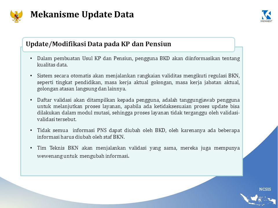 NCSIS Dalam pembuatan Usul KP dan Pensiun, pengguna BKD akan diinformasikan tentang kualitas data. Sistem secara otomatis akan menjalankan rangkaian v