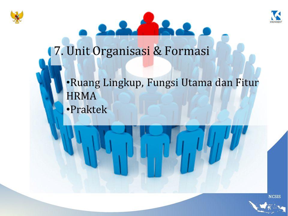 NCSIS 7. Unit Organisasi & Formasi Ruang Lingkup, Fungsi Utama dan Fitur HRMA Praktek