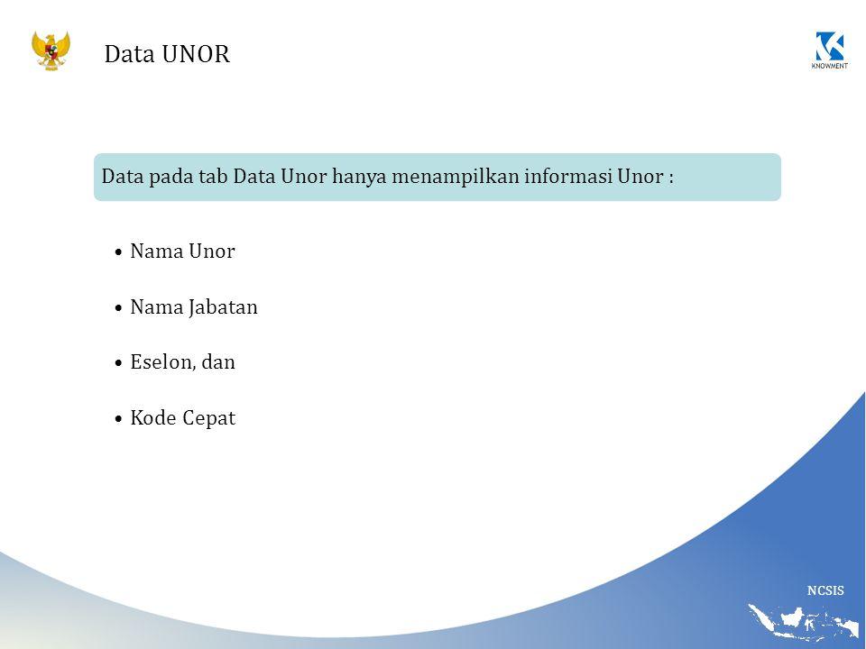 NCSIS Data UNOR Data pada tab Data Unor hanya menampilkan informasi Unor : Nama Unor Nama Jabatan Eselon, dan Kode Cepat