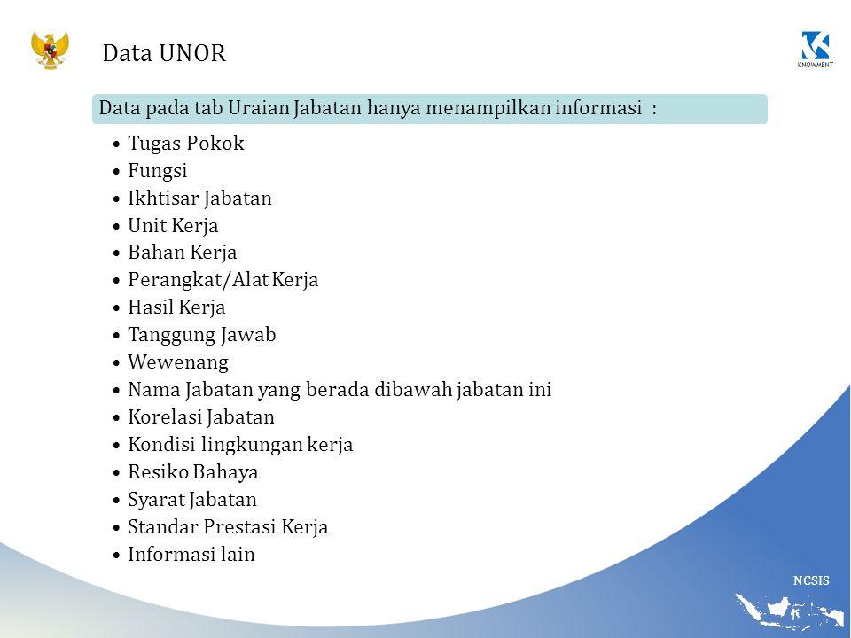 NCSIS Data UNOR Data pada tab Uraian Jabatan hanya menampilkan informasi : Tugas Pokok Fungsi Ikhtisar Jabatan Unit Kerja Bahan Kerja Perangkat/Alat K