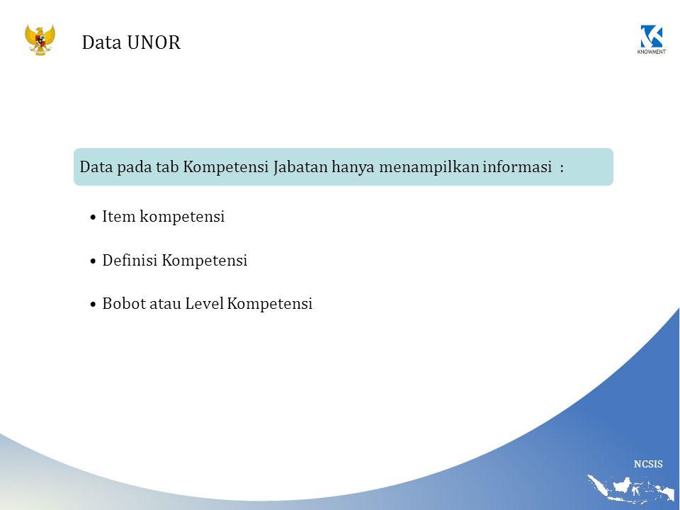 NCSIS Data UNOR Data pada tab Kompetensi Jabatan hanya menampilkan informasi : Item kompetensi Definisi Kompetensi Bobot atau Level Kompetensi