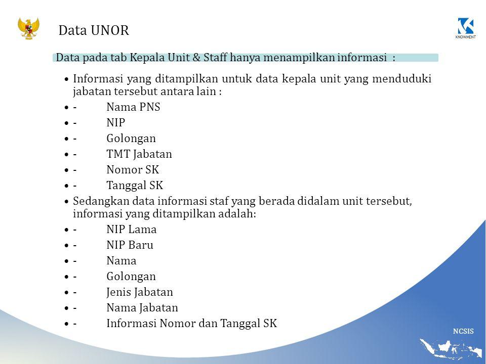 NCSIS Data UNOR Data pada tab Kepala Unit & Staff hanya menampilkan informasi : Informasi yang ditampilkan untuk data kepala unit yang menduduki jabat