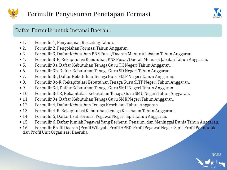 NCSIS Formulir Penyusunan Penetapan Formasi Daftar Formulir untuk Instansi Daerah : 1.Formulir 1, Penyusunan Bezzeting Tahun. 2.Formulir 2, Pengolahan