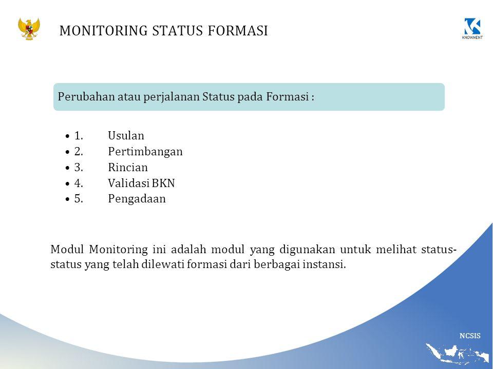 NCSIS MONITORING STATUS FORMASI Perubahan atau perjalanan Status pada Formasi : 1.Usulan 2.Pertimbangan 3.Rincian 4.Validasi BKN 5.Pengadaan Modul Mon