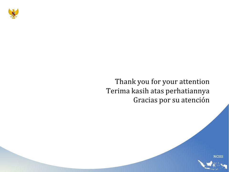 NCSIS Thank you for your attention Terima kasih atas perhatiannya Gracias por su atención