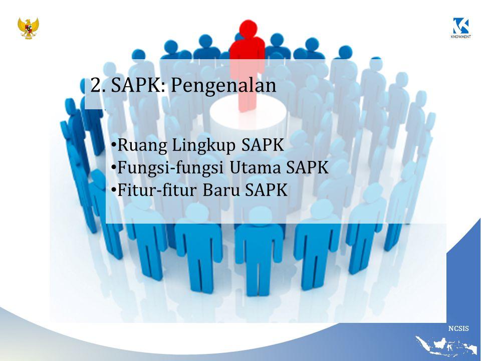 NCSIS 2. SAPK: Pengenalan Ruang Lingkup SAPK Fungsi-fungsi Utama SAPK Fitur-fitur Baru SAPK