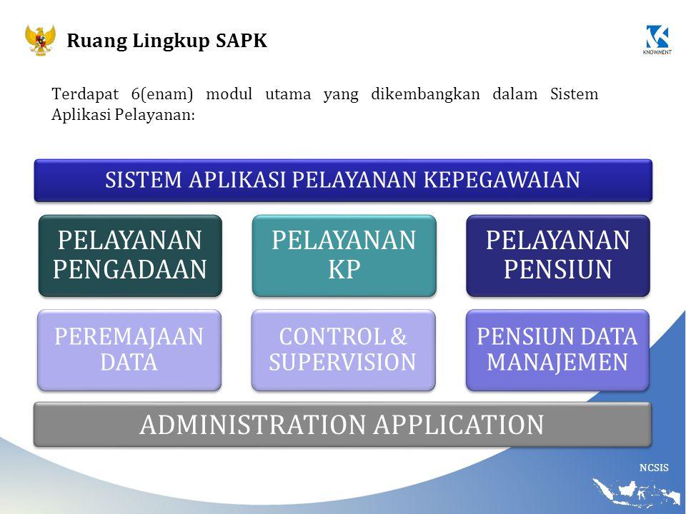 NCSIS Ruang Lingkup SAPK SISTEM APLIKASI PELAYANAN KEPEGAWAIAN ADMINISTRATION APPLICATION Terdapat 6(enam) modul utama yang dikembangkan dalam Sistem