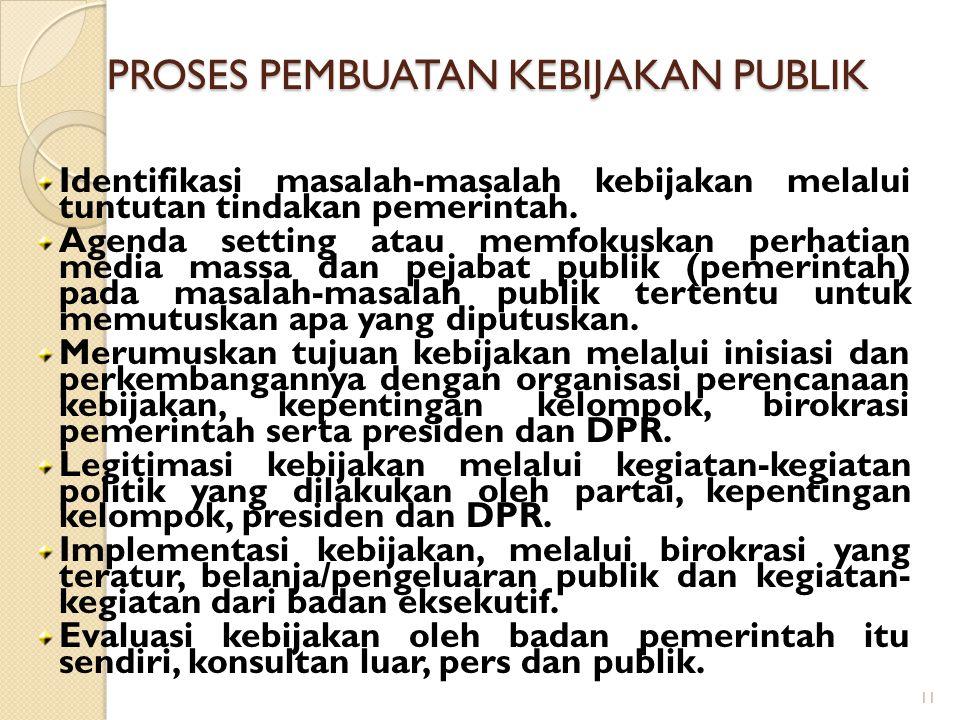 11 PROSES PEMBUATAN KEBIJAKAN PUBLIK Identifikasi masalah-masalah kebijakan melalui tuntutan tindakan pemerintah.