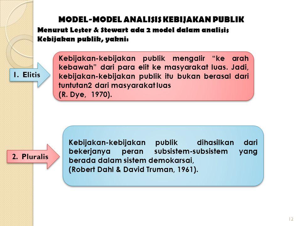 12 MODEL-MODEL ANALISIS KEBIJAKAN PUBLIK Menurut Lester & Stewart ada 2 model dalam analisis Kebijakan publik, yakni: 1.