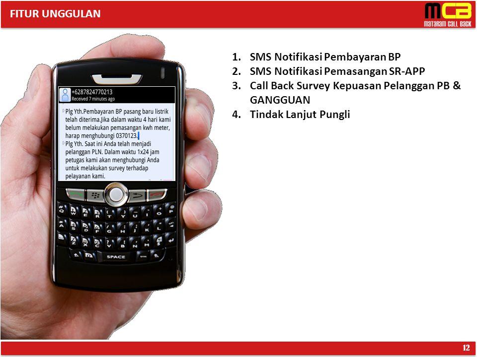 12 1.SMS Notifikasi Pembayaran BP 2.SMS Notifikasi Pemasangan SR-APP 3.Call Back Survey Kepuasan Pelanggan PB & GANGGUAN 4.Tindak Lanjut Pungli FITUR