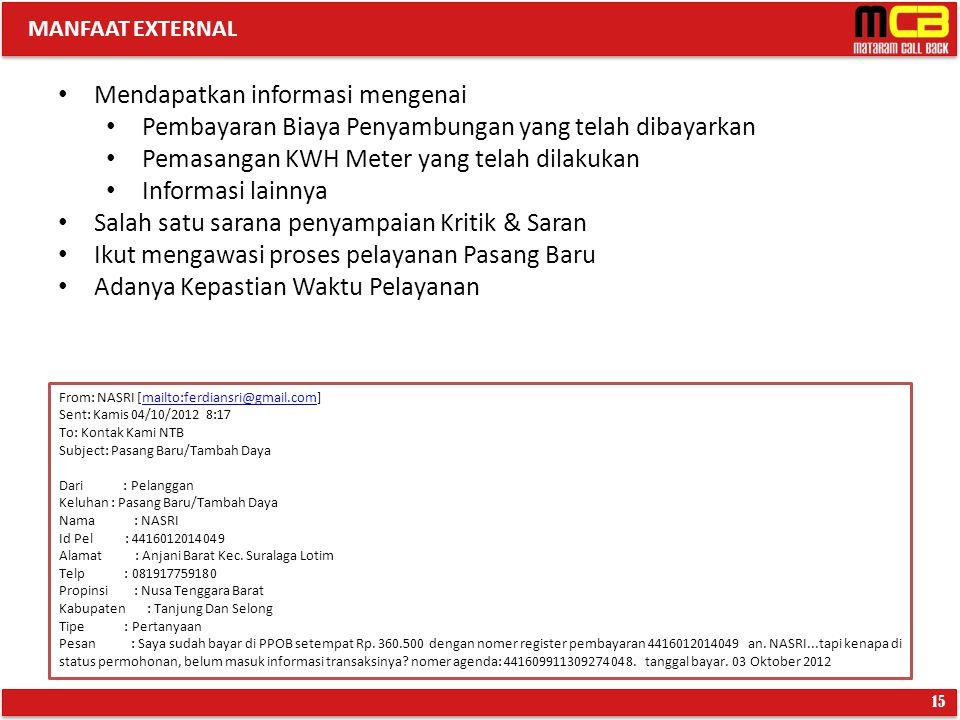 MANFAAT EXTERNAL 15 Mendapatkan informasi mengenai Pembayaran Biaya Penyambungan yang telah dibayarkan Pemasangan KWH Meter yang telah dilakukan Infor