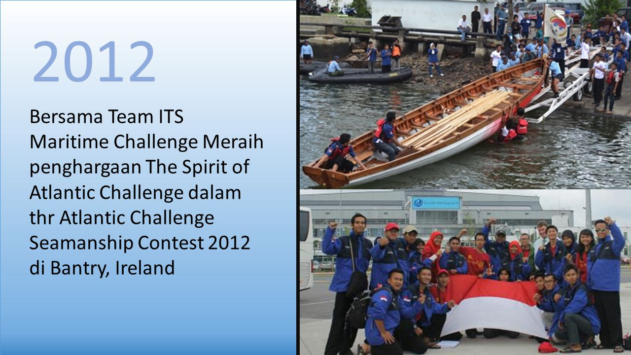Bersama Team ITS Maritime Challenge Meraih penghargaan The Spirit of Atlantic Challenge dalam thr Atlantic Challenge Seamanship Contest 2012 di Bantry, Ireland 2012