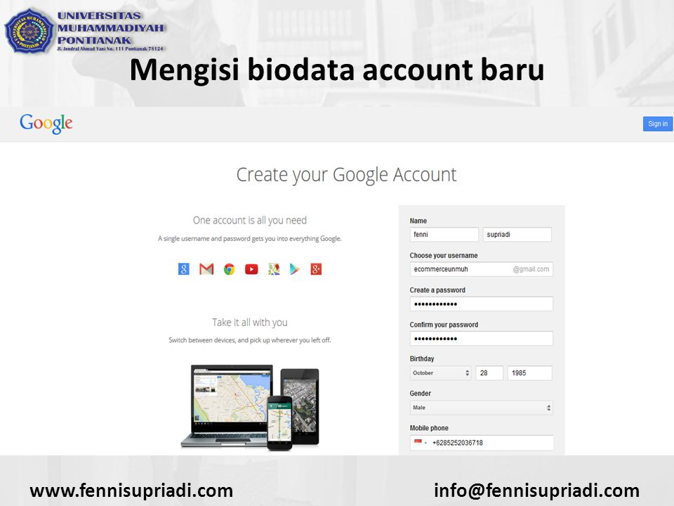 www.fennisupriadi.cominfo@fennisupriadi.com Mengisi biodata account baru