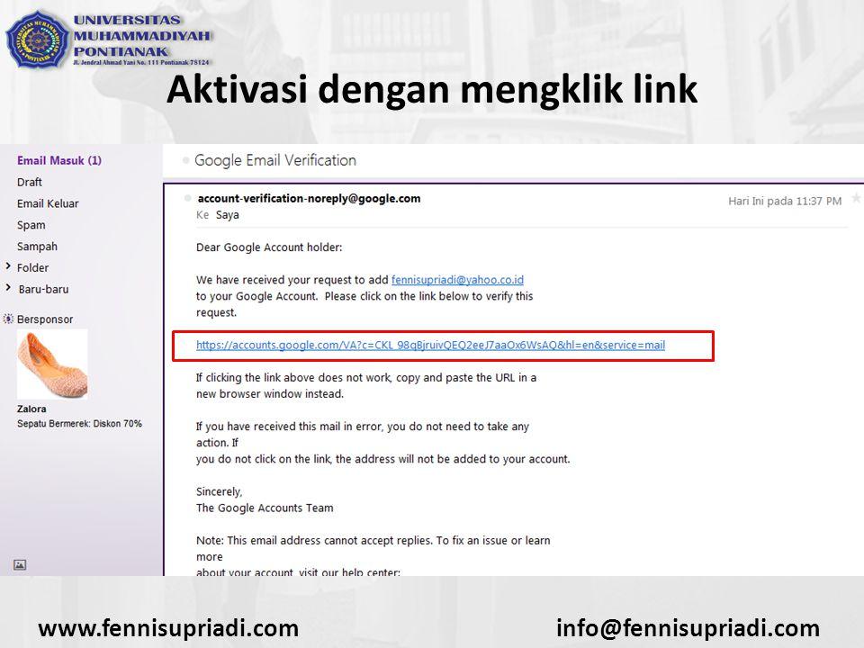 www.fennisupriadi.cominfo@fennisupriadi.com Aktivasi dengan mengklik link
