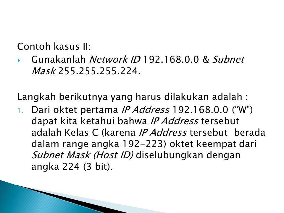 Contoh kasus II:  Gunakanlah Network ID 192.168.0.0 & Subnet Mask 255.255.255.224. Langkah berikutnya yang harus dilakukan adalah : 1. Dari oktet per