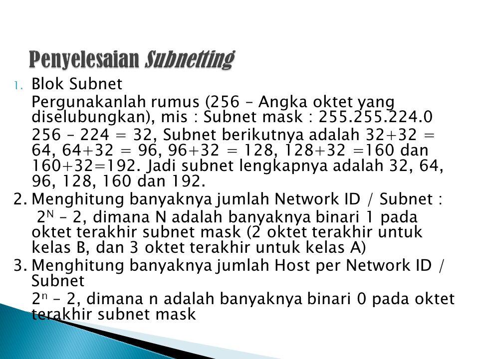 1. Blok Subnet Pergunakanlah rumus (256 – Angka oktet yang diselubungkan), mis : Subnet mask : 255.255.224.0 256 – 224 = 32, Subnet berikutnya adalah