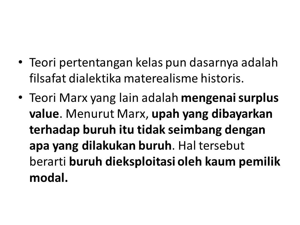 Teori pertentangan kelas pun dasarnya adalah filsafat dialektika materealisme historis. Teori Marx yang lain adalah mengenai surplus value. Menurut Ma