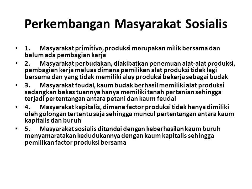 Perkembangan Masyarakat Sosialis 1. Masyarakat primitive, produksi merupakan milik bersama dan belum ada pembagian kerja 2. Masyarakat perbudakan, dia