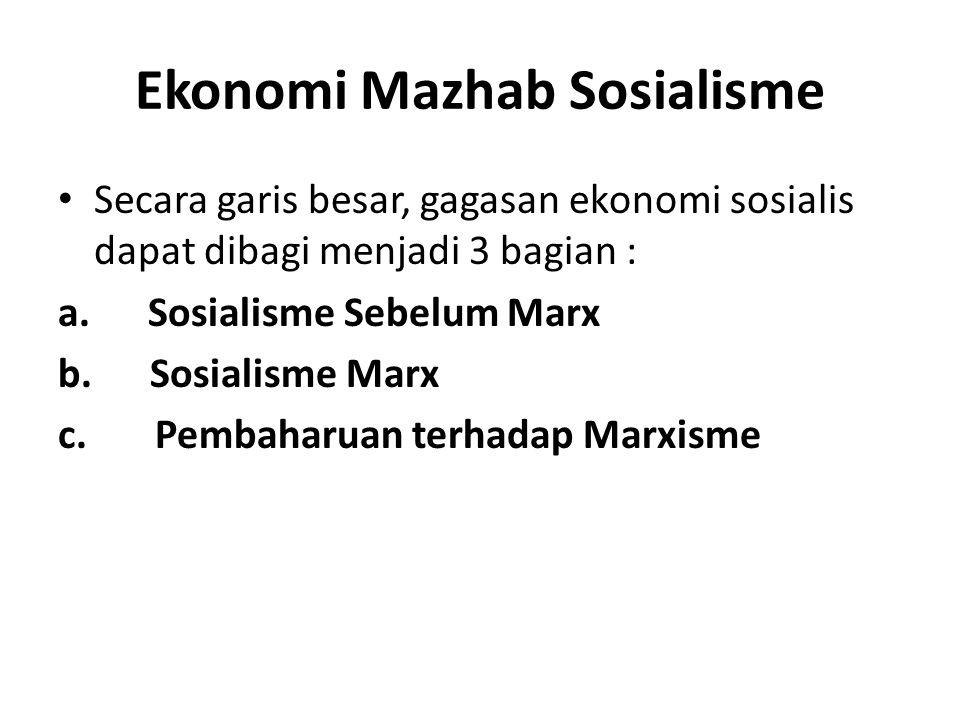 Ekonomi Mazhab Sosialisme Secara garis besar, gagasan ekonomi sosialis dapat dibagi menjadi 3 bagian : a. Sosialisme Sebelum Marx b. Sosialisme Marx c