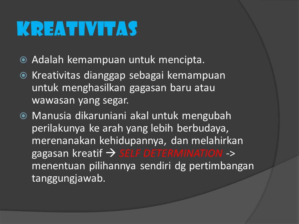 Kreativitas  Adalah kemampuan untuk mencipta.  Kreativitas dianggap sebagai kemampuan untuk menghasilkan gagasan baru atau wawasan yang segar.  Man