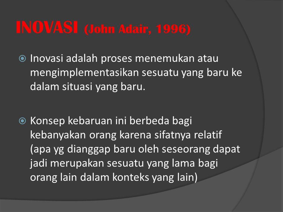 INOVASI (John Adair, 1996)  Inovasi adalah proses menemukan atau mengimplementasikan sesuatu yang baru ke dalam situasi yang baru.  Konsep kebaruan