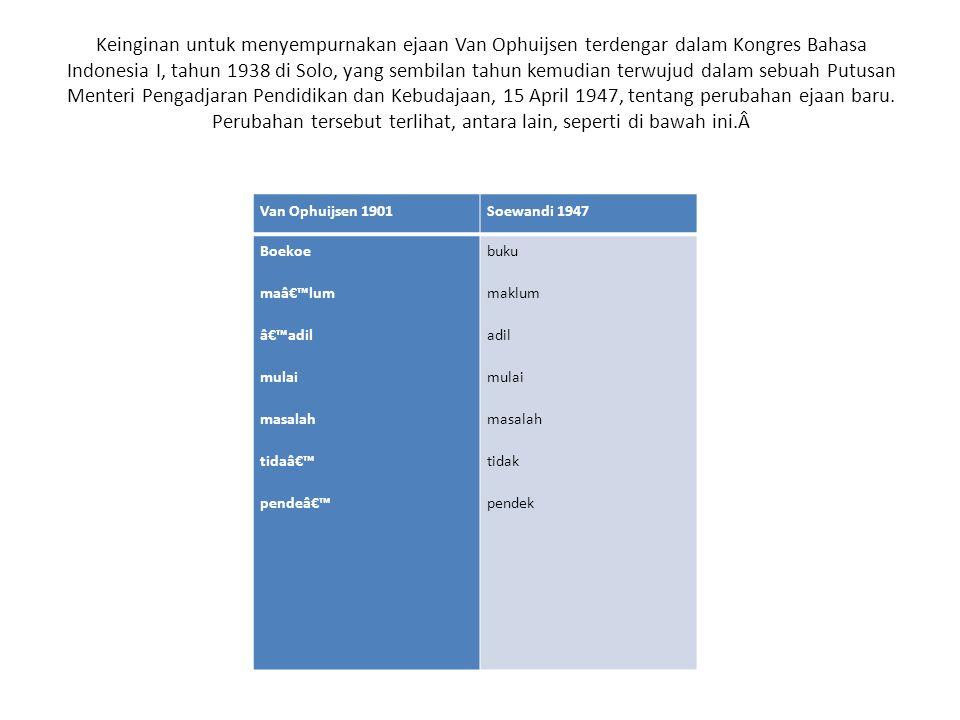 Keinginan untuk menyempurnakan ejaan Van Ophuijsen terdengar dalam Kongres Bahasa Indonesia I, tahun 1938 di Solo, yang sembilan tahun kemudian terwuj