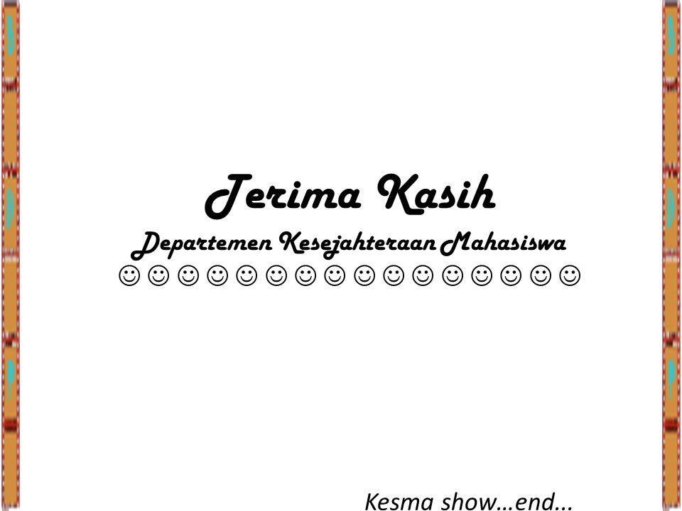 Terima Kasih Departemen Kesejahteraan Mahasiswa Kesma show…end...