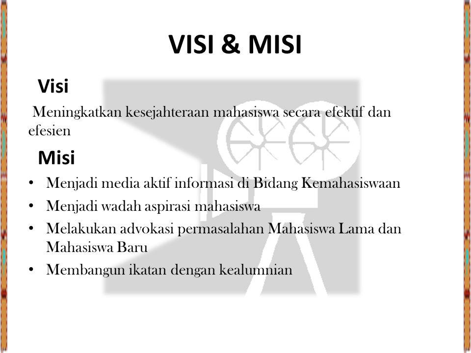 VISI & MISI Visi Meningkatkan kesejahteraan mahasiswa secara efektif dan efesien Misi Menjadi media aktif informasi di Bidang Kemahasiswaan Menjadi wa
