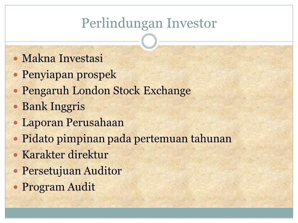 Makna Investasi Investor # spekulator Investor bisa mempunyai peran di terhadap manajemen.