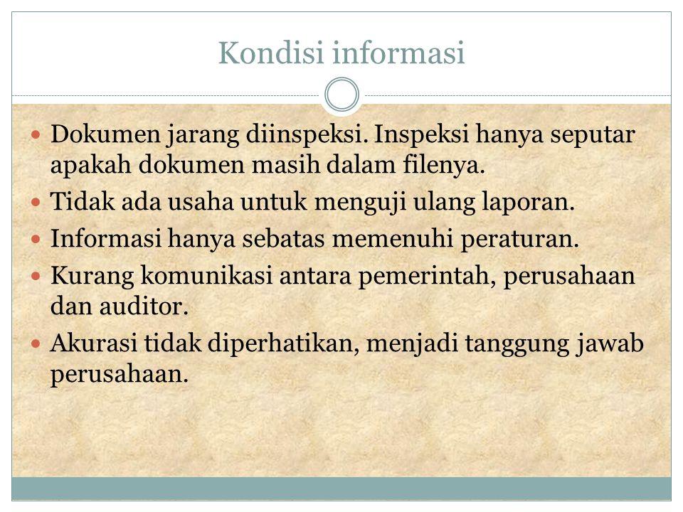 Kondisi informasi Dokumen jarang diinspeksi.