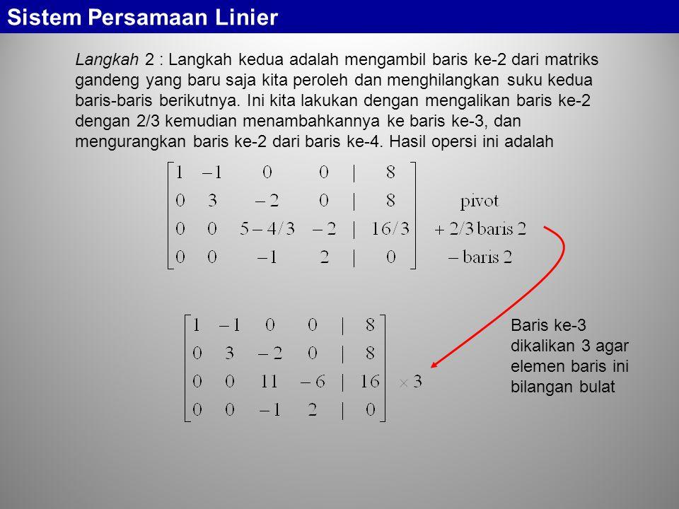 Sistem Persamaan Linier Langkah 2 : Langkah kedua adalah mengambil baris ke-2 dari matriks gandeng yang baru saja kita peroleh dan menghilangkan suku