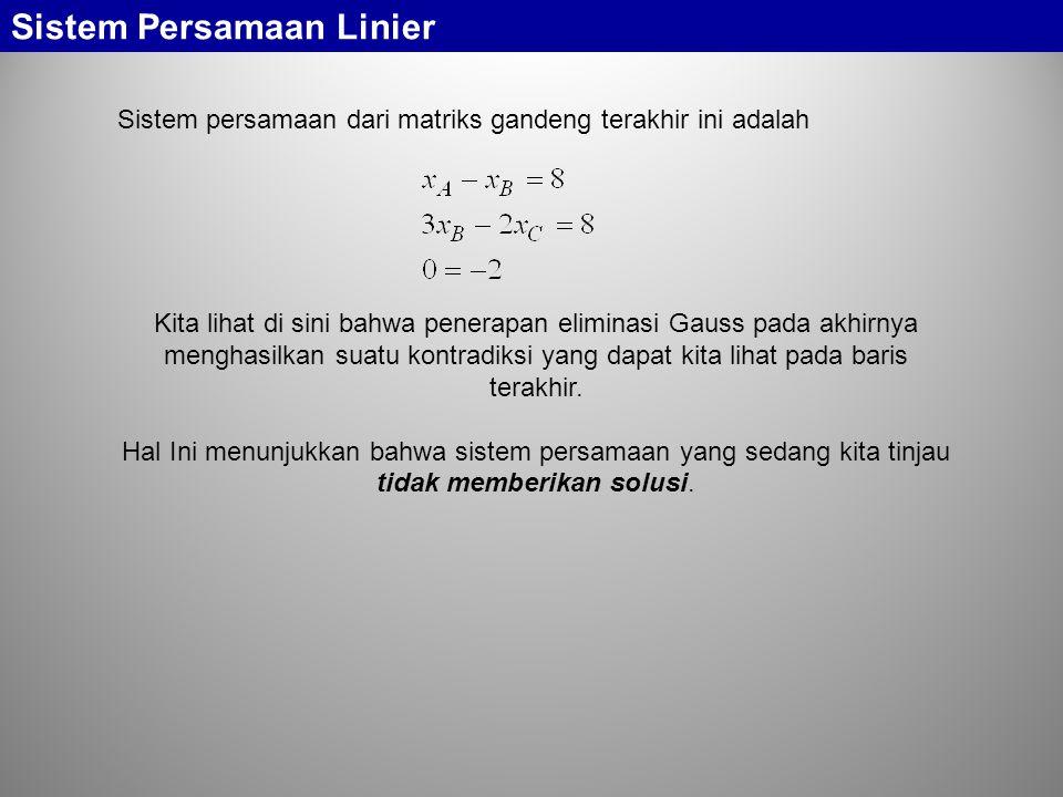 Sistem persamaan dari matriks gandeng terakhir ini adalah Sistem Persamaan Linier Kita lihat di sini bahwa penerapan eliminasi Gauss pada akhirnya men