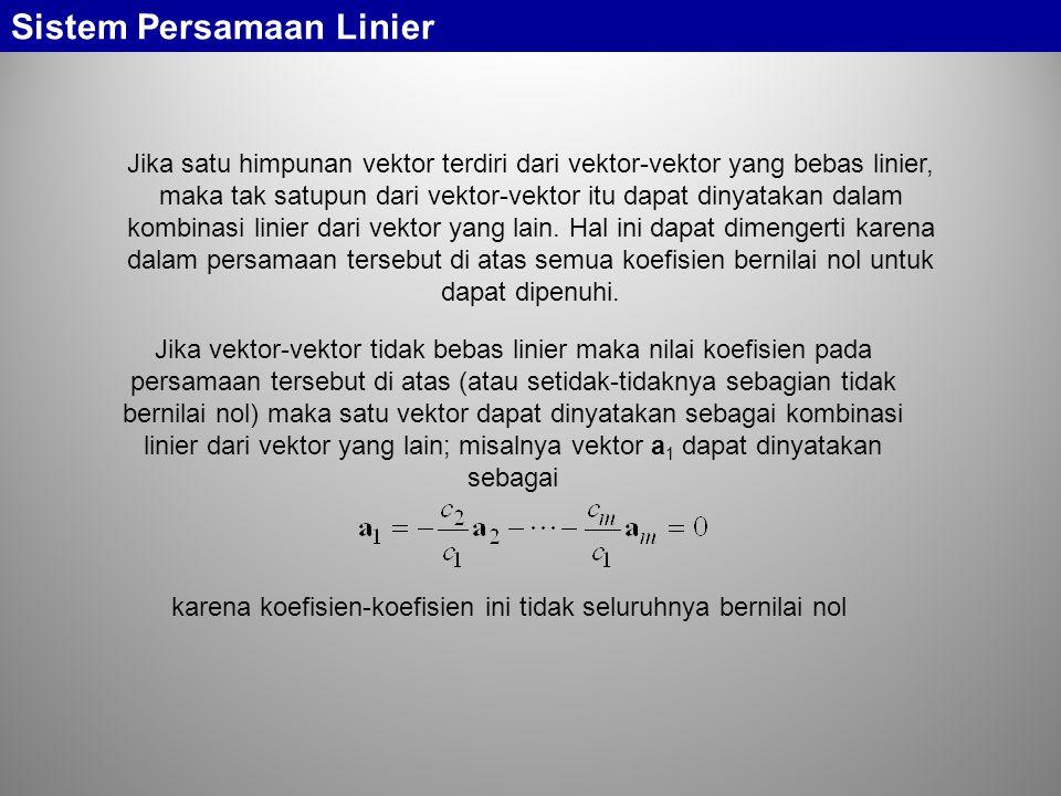 Jika satu himpunan vektor terdiri dari vektor-vektor yang bebas linier, maka tak satupun dari vektor-vektor itu dapat dinyatakan dalam kombinasi linie
