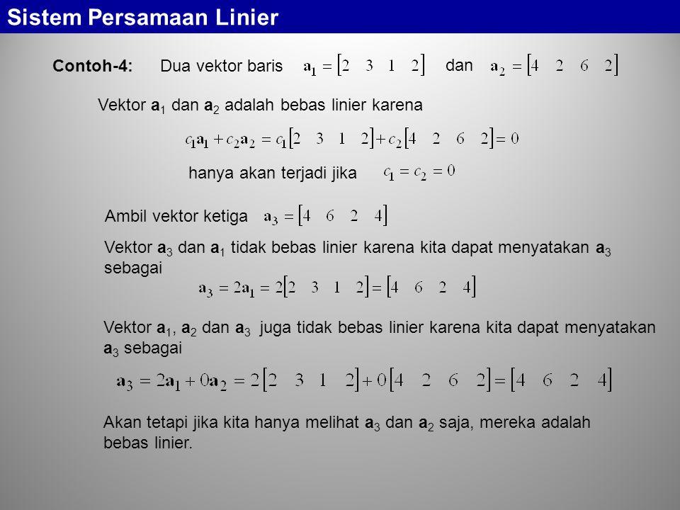 Sistem Persamaan Linier Contoh-4: Dua vektor baris dan Vektor a 1 dan a 2 adalah bebas linier karena hanya akan terjadi jika Ambil vektor ketiga Vekto