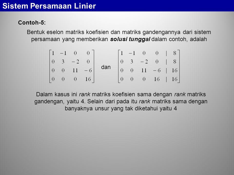 Sistem Persamaan Linier Bentuk eselon matriks koefisien dan matriks gandengannya dari sistem persamaan yang memberikan solusi tunggal dalam contoh, ad