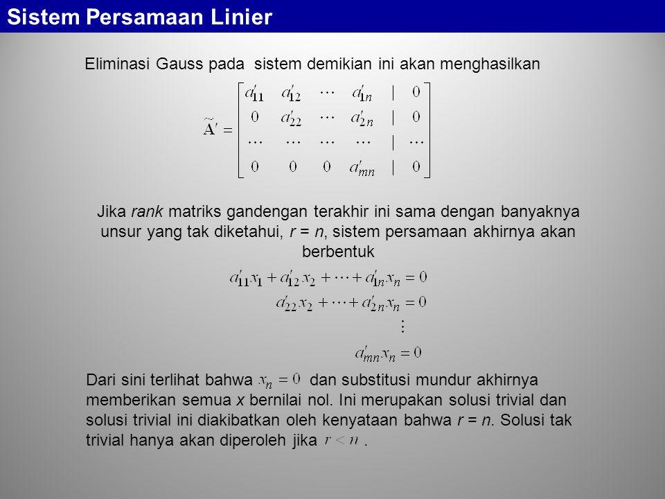 Sistem Persamaan Linier Eliminasi Gauss pada sistem demikian ini akan menghasilkan Jika rank matriks gandengan terakhir ini sama dengan banyaknya unsu