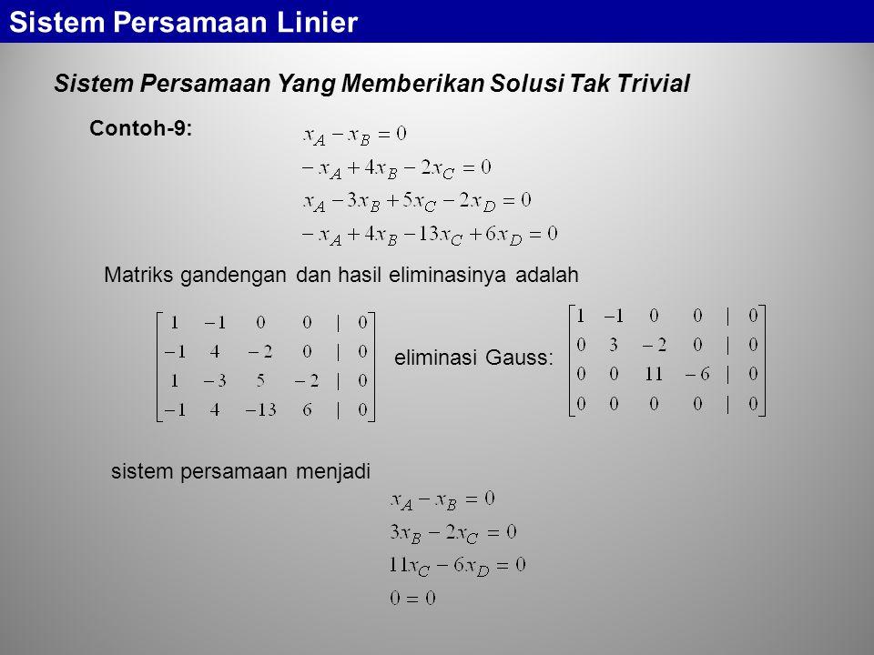 Sistem Persamaan Yang Memberikan Solusi Tak Trivial Sistem Persamaan Linier Matriks gandengan dan hasil eliminasinya adalah Contoh-9: eliminasi Gauss: