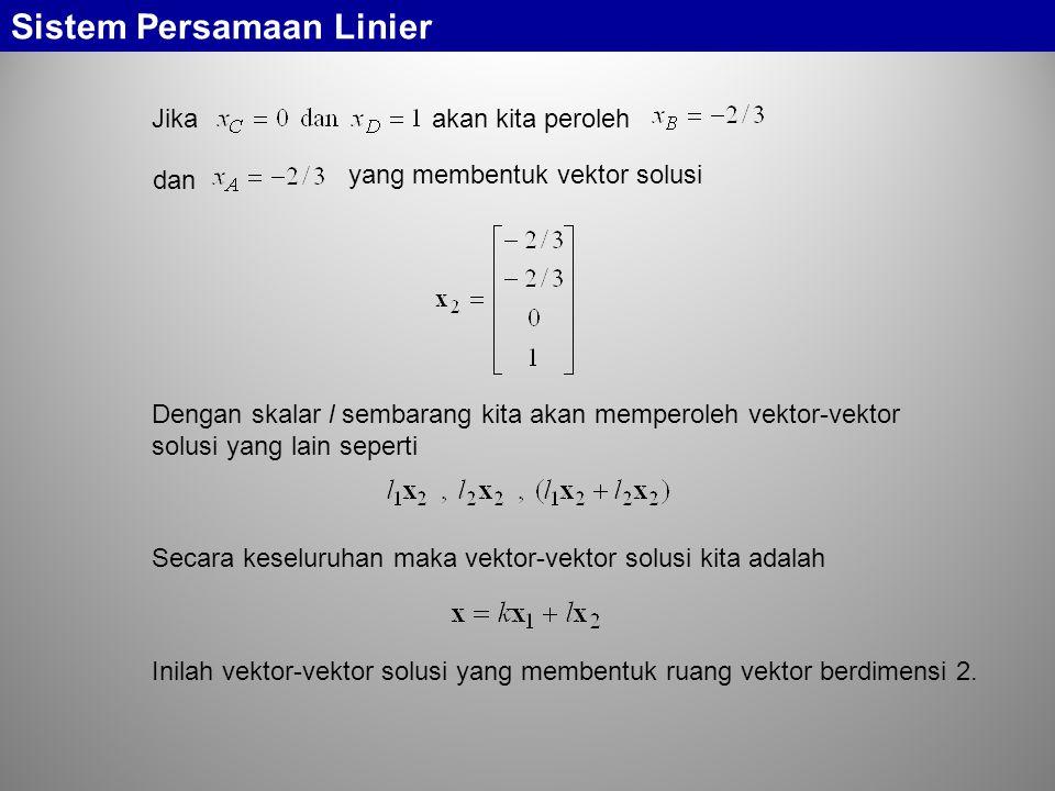 Sistem Persamaan Linier Jika akan kita peroleh dan yang membentuk vektor solusi Dengan skalar l sembarang kita akan memperoleh vektor-vektor solusi ya
