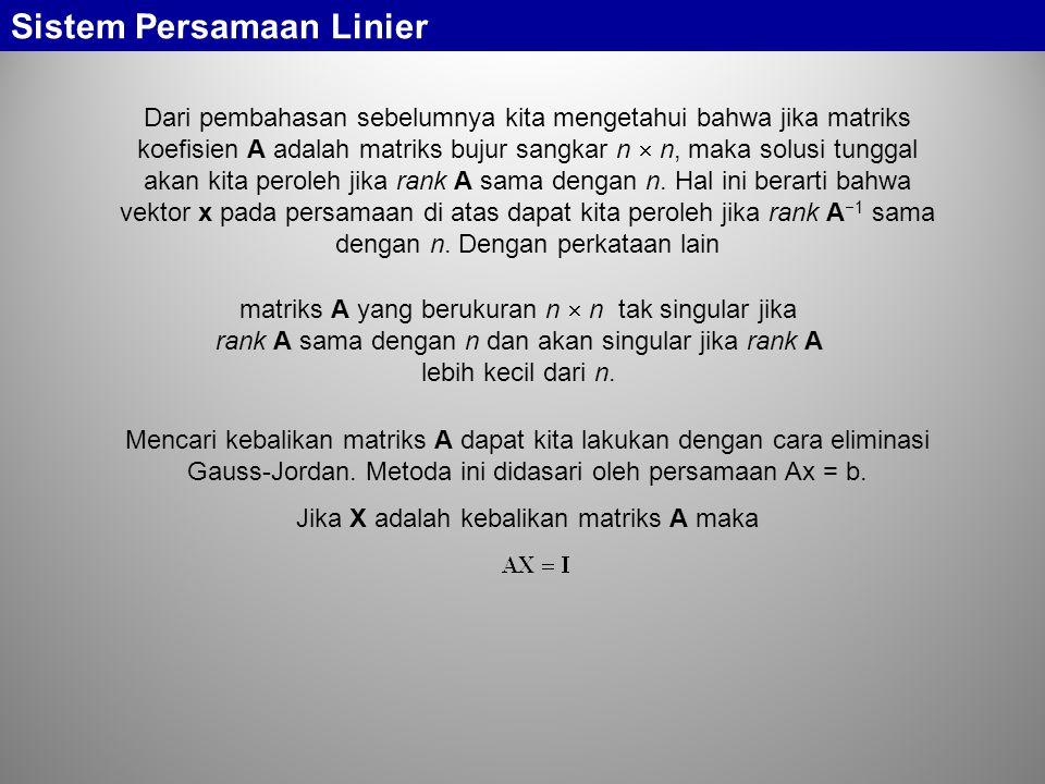 Sistem Persamaan Linier Dari pembahasan sebelumnya kita mengetahui bahwa jika matriks koefisien A adalah matriks bujur sangkar n  n, maka solusi tung