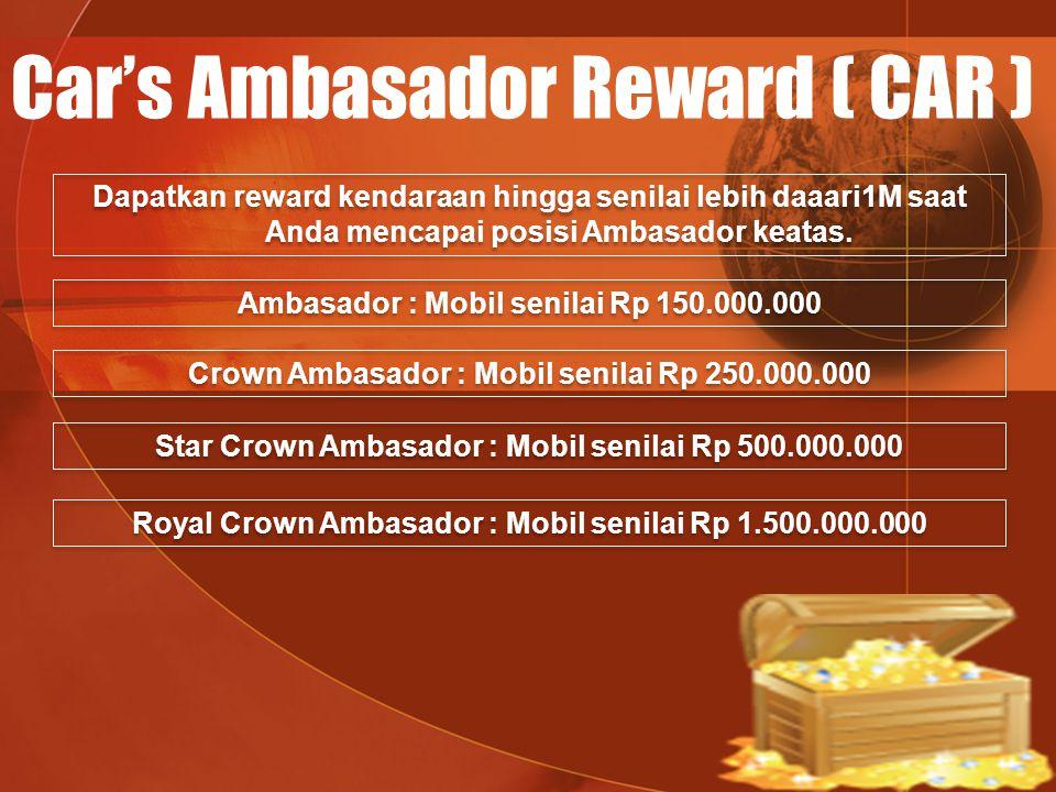 Car's Ambasador Reward ( CAR ) Dapatkan reward kendaraan hingga senilai lebih daaari1M saat Anda mencapai posisi Ambasador keatas. Ambasador : Mobil s