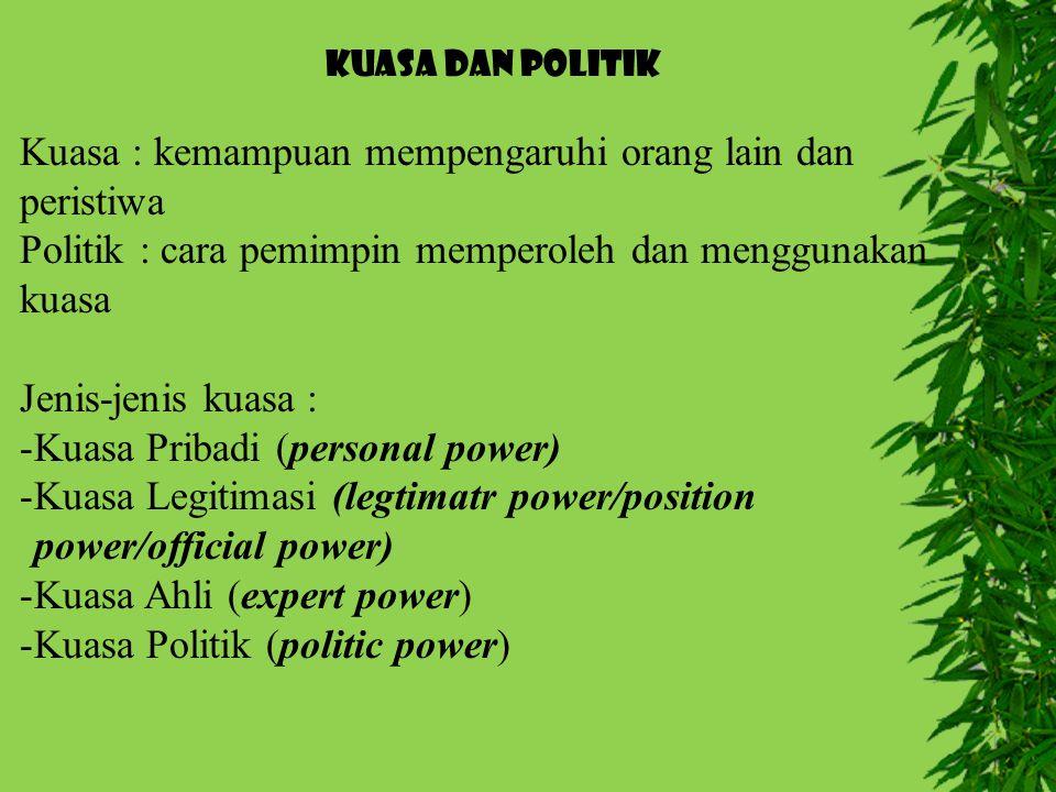 KUASA DAN POLITIK Kuasa : kemampuan mempengaruhi orang lain dan peristiwa Politik : cara pemimpin memperoleh dan menggunakan kuasa Jenis-jenis kuasa : -Kuasa Pribadi (personal power) -Kuasa Legitimasi (legtimatr power/position power/official power) -Kuasa Ahli (expert power) -Kuasa Politik (politic power)