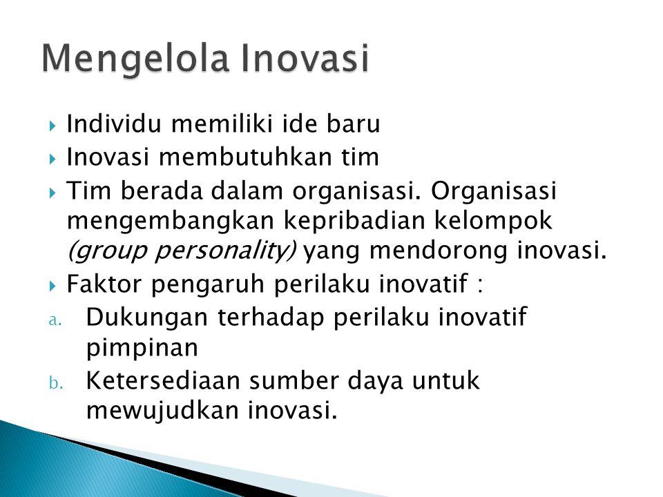  Individu memiliki ide baru  Inovasi membutuhkan tim  Tim berada dalam organisasi. Organisasi mengembangkan kepribadian kelompok (group personality