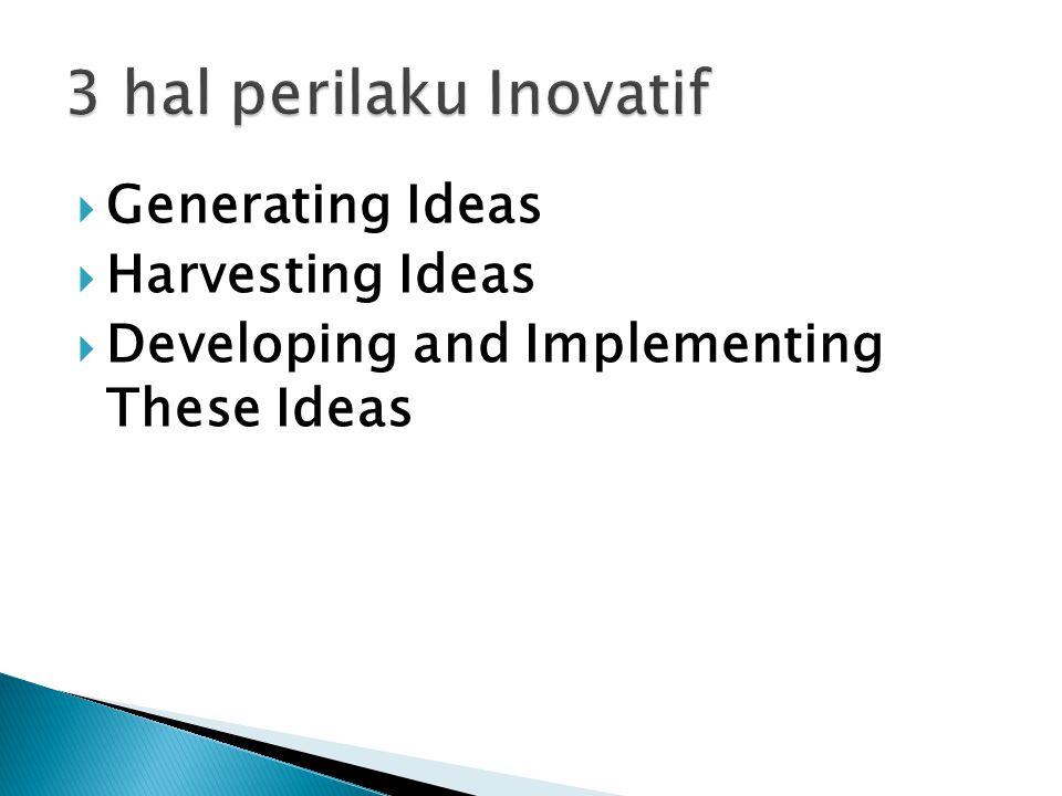 individu atau kelompok dalam menghasilkan gagasan untuk mengembangkan produk, proses, pelayanan yang ada sebelumnya atau menciptakan sesuatu yang baru