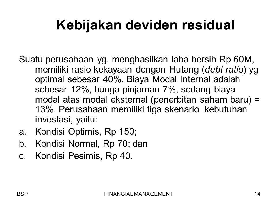 BSPFINANCIAL MANAGEMENT14 Kebijakan deviden residual Suatu perusahaan yg.
