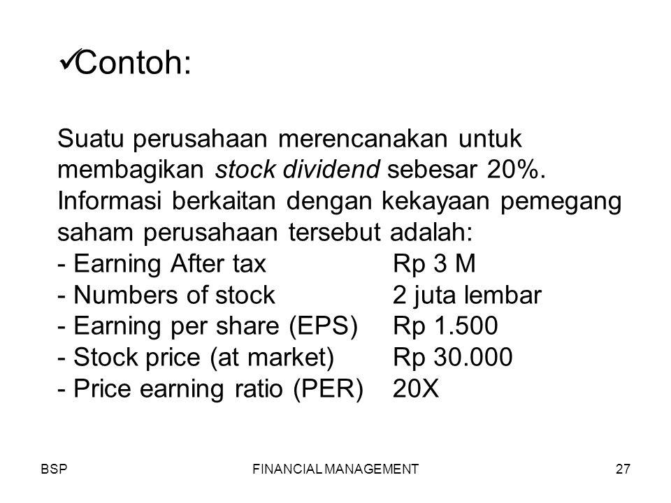 BSPFINANCIAL MANAGEMENT27 Contoh: Suatu perusahaan merencanakan untuk membagikan stock dividend sebesar 20%.