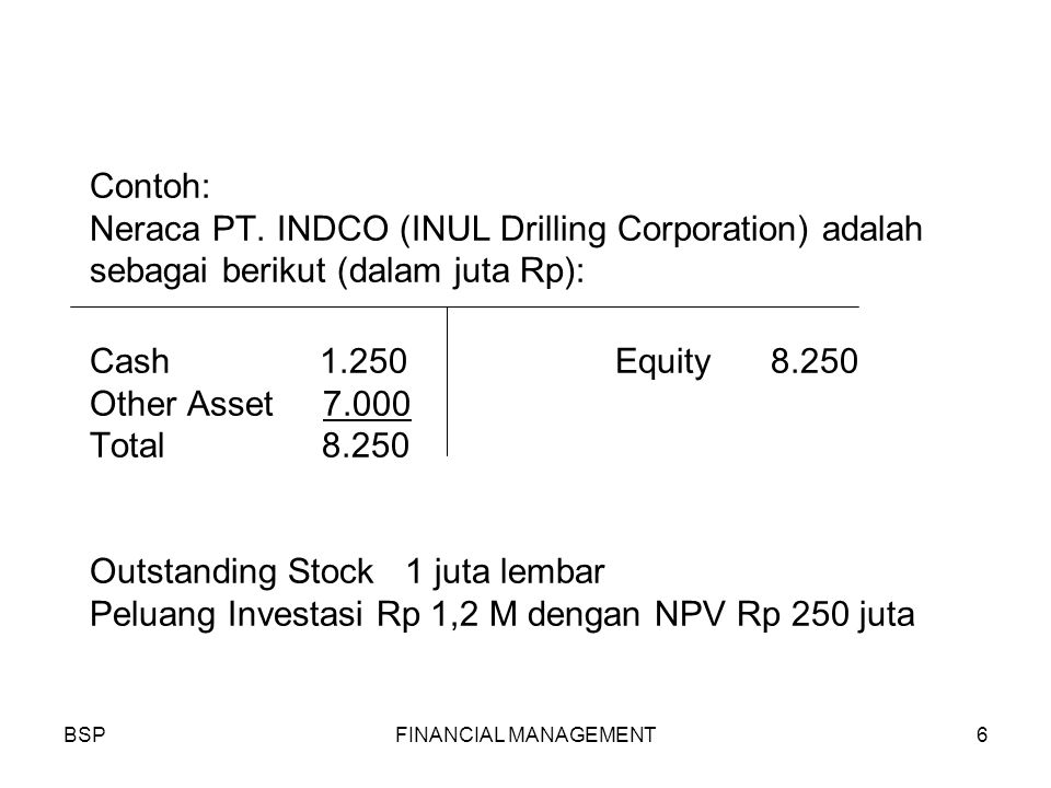 BSPFINANCIAL MANAGEMENT6 Contoh: Neraca PT.
