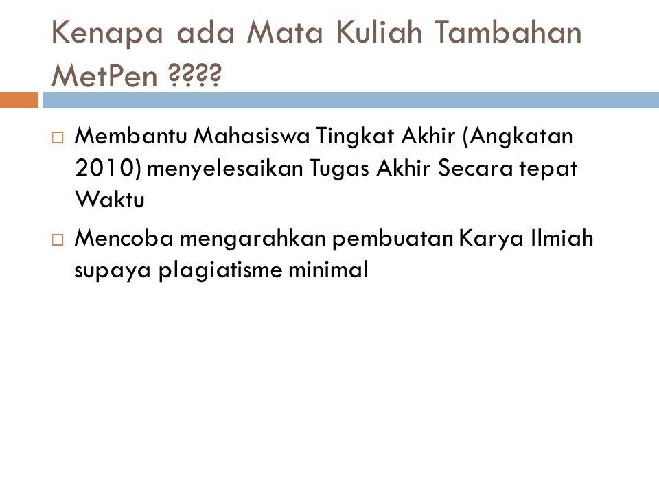 Sifat Mata Kuliah Tambahan Metpen  Bebas Bersayarat  0 (Nol) SKS  Tidak ada penilaian  Tidak masuk dalam transkrip nilai